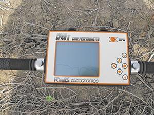 Soil resistance meter showing reading