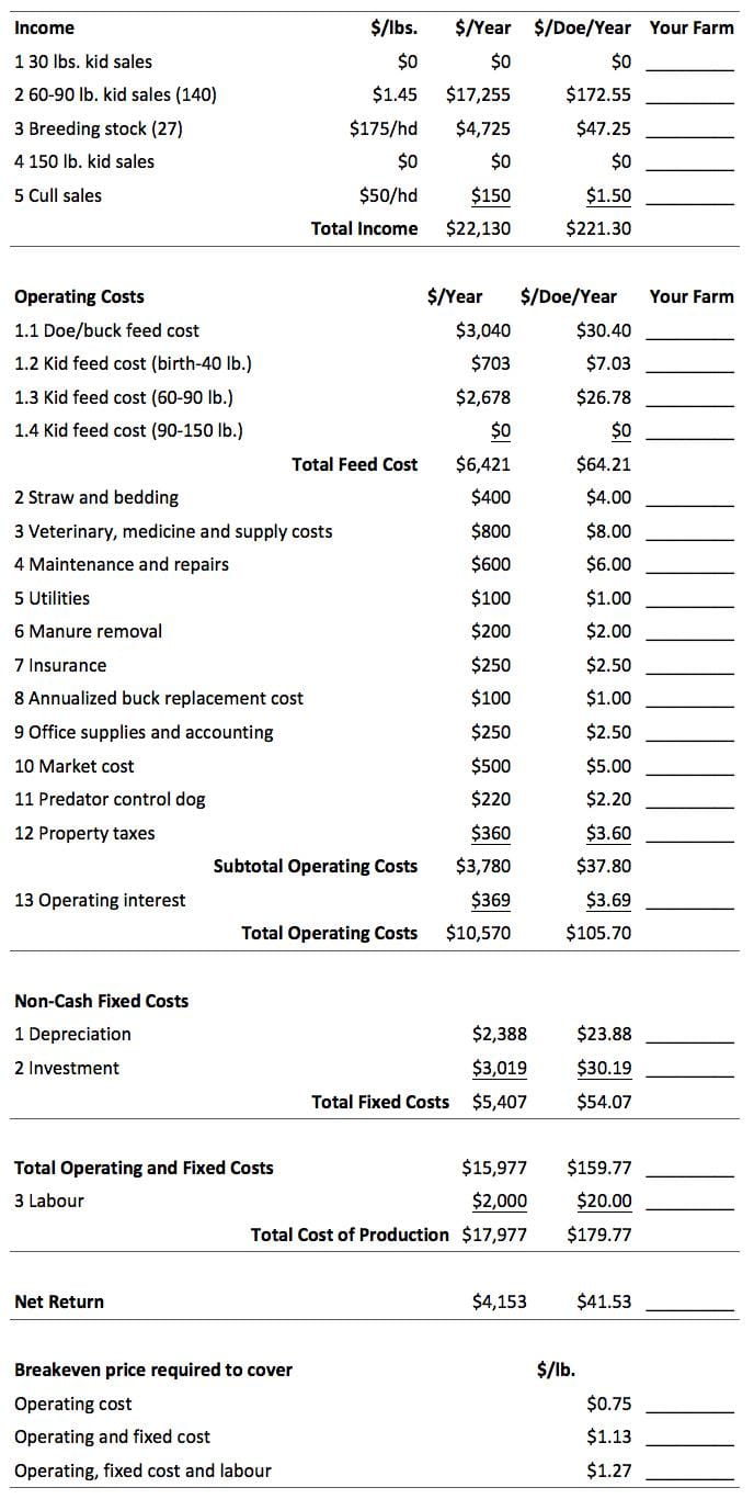 Income and Expense Summary for a 100-Doe Commercial Enterprise