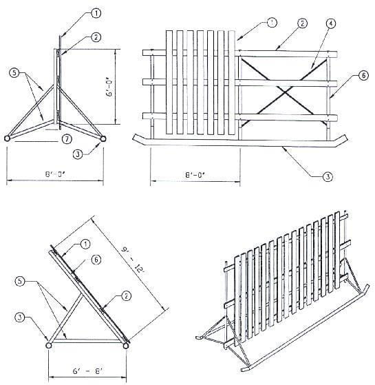 Diagrams for windbreak fence