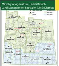Map of Land Management Specialists in Saskatchewan