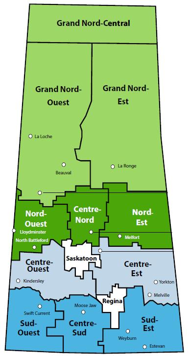 carte des zones de la Saskatchewan