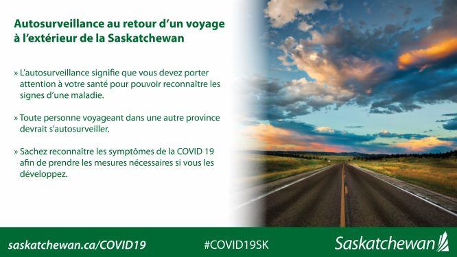 infographie Autosurveillance au retour d'un voyage à l'extérieur de la Saskatchewan