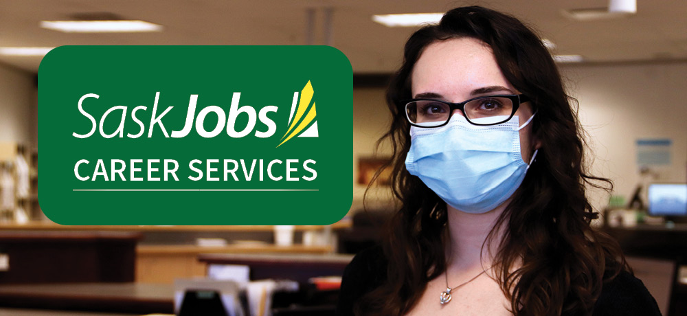 "A banner displaying people looking at a computer screen with text reading, ""SaskJobs Career Services."""