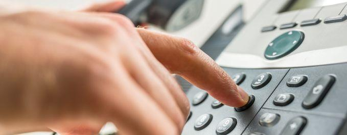 Client using telephone