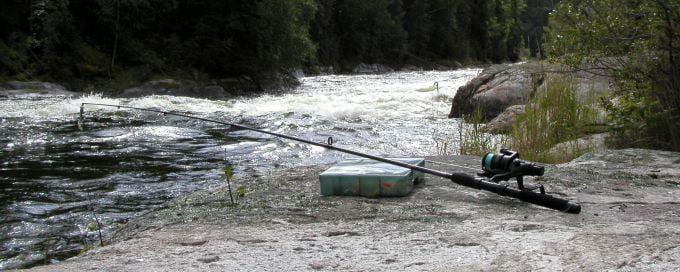 Fishing rod on riverbank