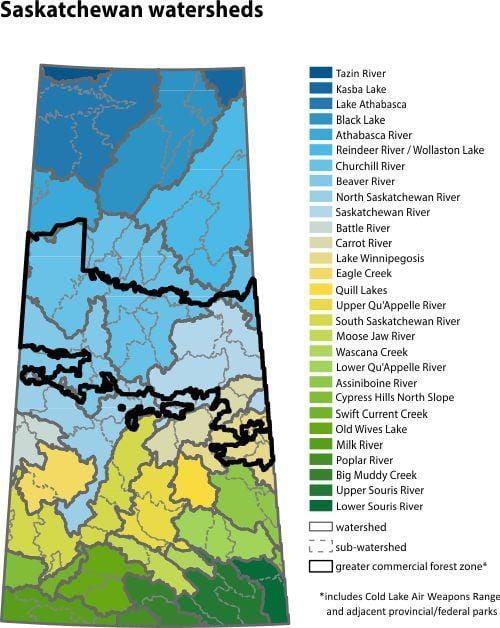 Saskatchewan watershed map