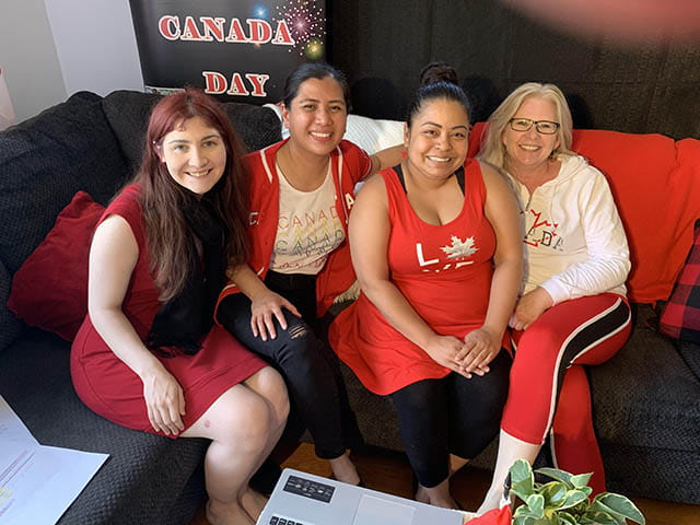 PAMC Staff ( Beaonca, Michelle, Cinddy & Jayne) on the go during Virtual Celebrate Canada Day 2020 on July 1st, 2020