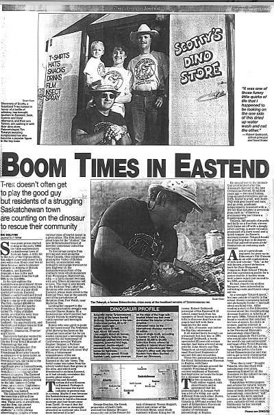 Newspaper article from The Edmonton Journal, August 6, 1994, titled Boom Times in Eastend