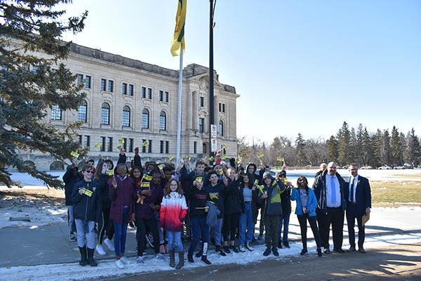 Francophone students attended the flag-raising in March 2020.