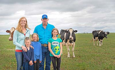 The Lovich family at their dairy farm just outside of Balgonie, Sask
