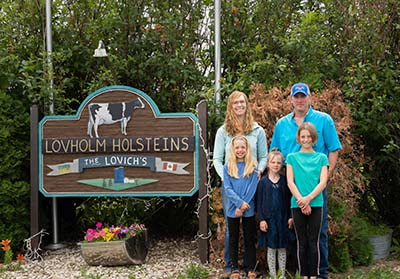 The Lovich family at their dairy farm just outside of Balgonie, Sask.