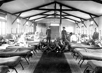 The interior of one of the huts at Canadian General Hospital No. 3.