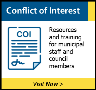Graphic encouraging municipal staff and council members to view the Conflict of Interest Resources found on this website.