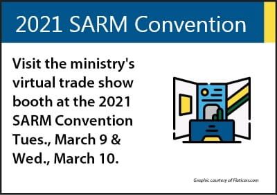 Graphic encouraging people to visit GR's virtual trade show booth at SARM convention.