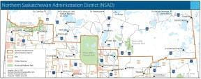 Small image of a map of the Northern Saskatchewan Administration District (NSAD)