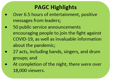 Colour block explaining highlights from the PAGC's virtual event