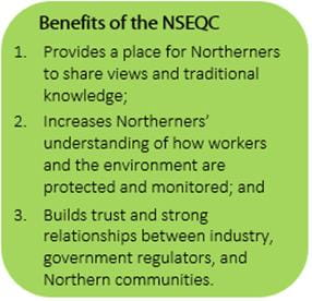 Green coloured box outlining three benefits for the Northern Saskatchewan Environmental Quality Committee