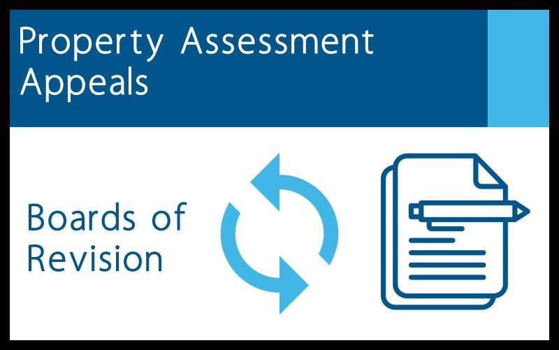 Graphic featuring pen and paper with words Property Assessment Appeals, Boards of Revision