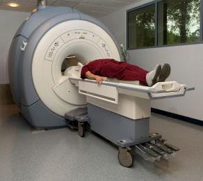 Patient in an MRI machine.