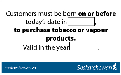 Tobacco and vapour products - Year of birth sticker