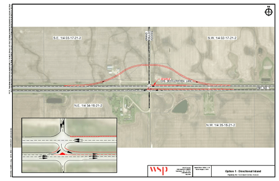 Option 1 design for the Grand Coulee and Hwy 1 intersection