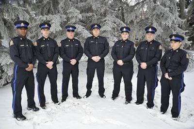 Group of Saskatchewan Highway Patrol officers standing outside