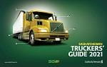 Semi truck on a green background with the words Truckers' Guide 2019 on it.