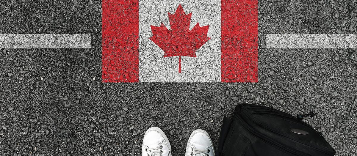 Canadian flag painted on road