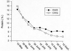 Effect of date of harvest on protein content of Russian wild rye and crested wheatgrass forage