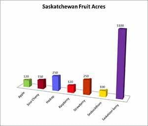 Chart of Saskatchewan fruit acres