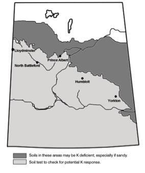 Map of potential K deficiency and response in Saskatchewan