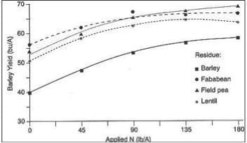 Increase in Yield of Continuous Wheat After Alfalfa Compared to Continous Wheat After Fallow