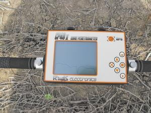 Soil resistance meter showing reading