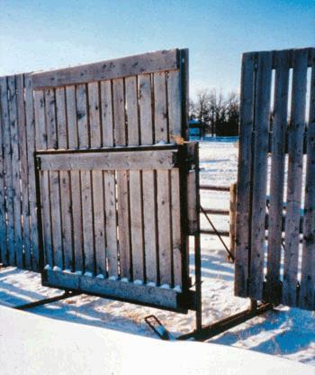 Eight foot wing extension on a hinge at the end of the windbreak for opening and tying to the next portable windbreak