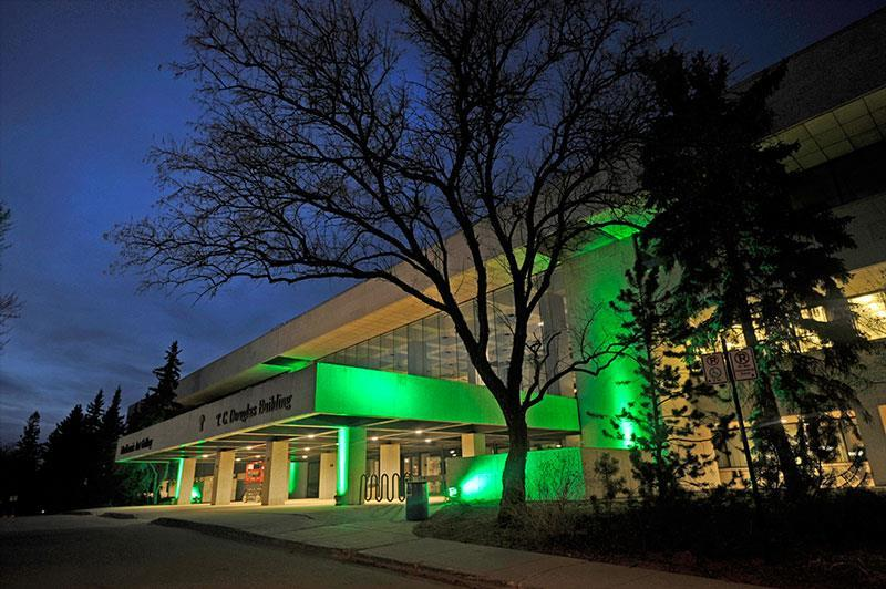 Regina's TC Douglas Building is lit green on Wednesday, April 25, 2018 to help raise awareness about the importance of organ and tissue donations.